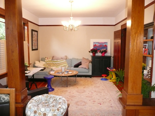 What should be a dining room is being used as a family room for living.